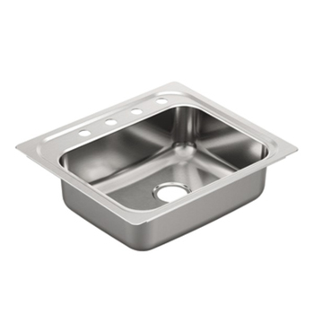 Moen G201964 2000 Series 20 Gauge 4 Hole Single Bowl Drop in Kitchen Sink - Stainless Steel