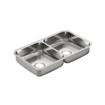 Moen G20214 2000 Series 20 Gauge Double Bowl Undermount Kitchen Sink - Stainless Steel