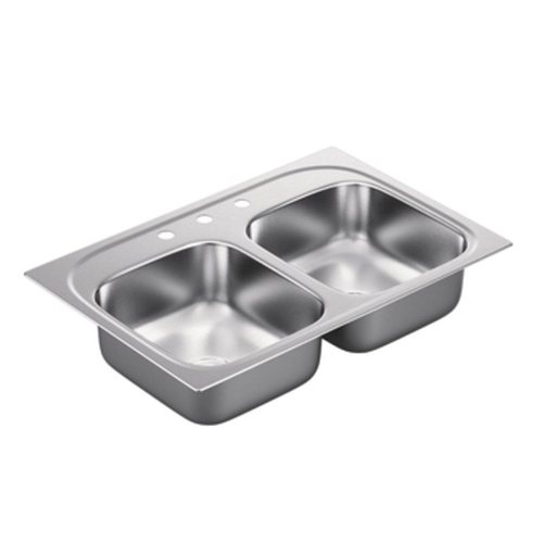 Moen G202153 2000 Series 20 Gauge 3 Hole Double Bowl Drop in Kitchen Sink - Stainless Steel