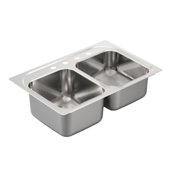 Moen G202334 2000 Series 20 Gauge 4 Hole Double Bowl Drop in Kitchen Sink - Stainless Steel