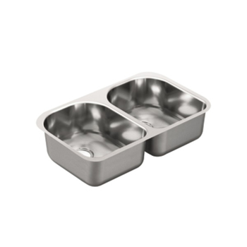 Moen G20253 2000 Series 20 Gauge Double Bowl Undermount Kitchen Sink - Stainless Steel
