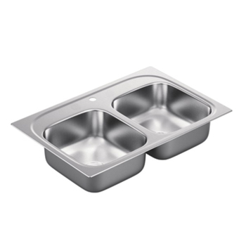 Moen G202591 2000 Series 20 Gauge 1 Hole Double Bowl Drop in Kitchen Sink - Stainless Steel