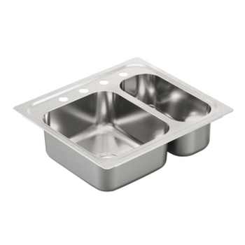 Moen G202714 2000 Series 40 Gauge 4 Hole Double Bowl Drop in Kitchen Sink - Stainless Steel
