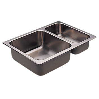 Moen G202720 2000 Series 20 Gauge Double Bowl Drop in Kitchen Sink - Stainless Steel