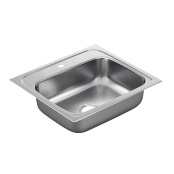 Moen G221961 2200 Series 22 Gauge 1 Hole Single Bowl Drop in Kitchen Sink - Stainless Steel