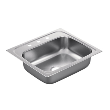 Moen G221963 2200 Series 22 Gauge 3 Hole Single Bowl Drop in Kitchen Sink - Stainless Steel