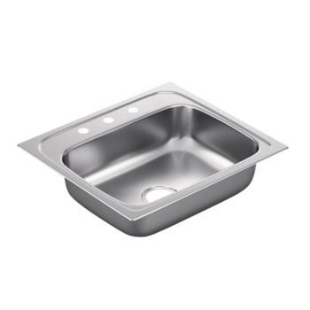 Moen G221983 2200 Series 22 Gauge 3 Hole Single Bowl Drop in Kitchen Sink - Stainless Steel
