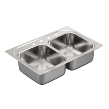 Moen G222134 2200 Series 22 Gauge 4 Hole Double Bowl Drop in Kitchen Sink - Stainless Steel