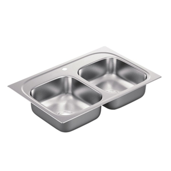 Moen G222171 2200 Series 22 Gauge 1 Hole Double Bowl Drop in Kitchen Sink - Stainless Steel