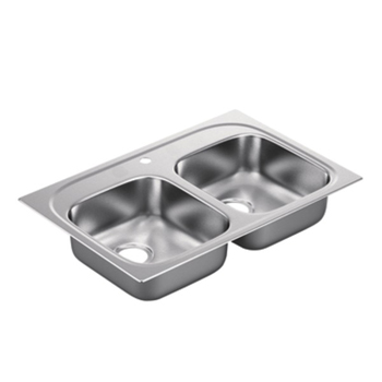 Moen G222171B 2200 Series 22 Gauge 1 Hole Double Bowl Drop in Kitchen Sink - Stainless Steel