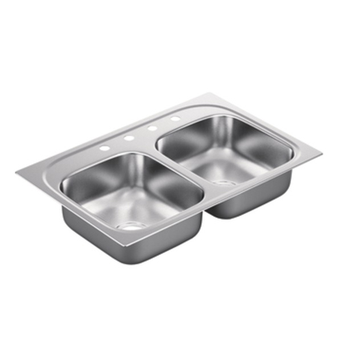 Moen G222174 2200 Series 22 Gauge 4 Hole Double Bowl Drop in Kitchen Sink - Stainless Steel