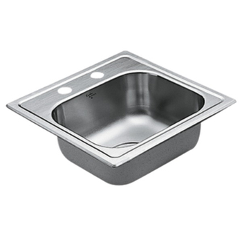 Moen G224562 2200 Series 22 Gauge 2 Hole Single Bowl Drop in Kitchen Sink - Stainless Steel