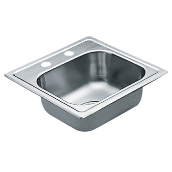 Moen G2245622 2200 Series 22 Gauge 2 Hole Single Bowl Drop in Kitchen Sink - Stainless Steel