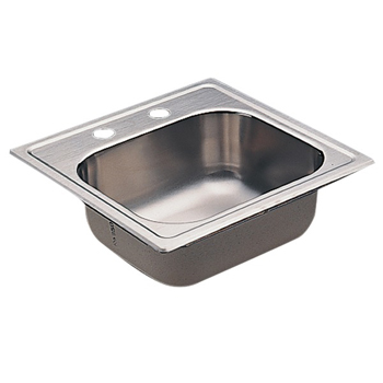Moen KG2045522 2000 Series 20 Gauge 2 Hole Single Bowl Drop in Kitchen Sink - Stainless Steel