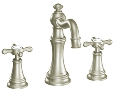 Moen TS42114BN Weymouth Lavatory Widespread Faucet with Metal Cross Handles - Brushed Nickel