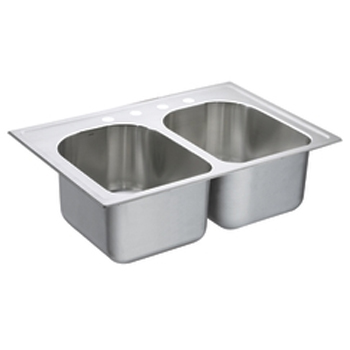 Moen S22394 Lancelot Self-Rimming Double Bowl Kitchen Sink - Stainless Steel