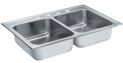 Moen S22395 Lancelot 18 Gauge Double Bowl Drop in Sink - Stainless Steel