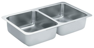 Moen S22396 Lancelot 18 Gauge Undermount Double Bowl Sink - Stainless Steel