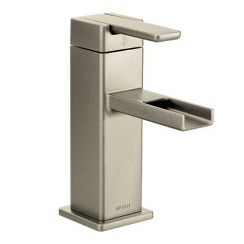 Moen S6705BN 90 Degree One Handle Low Arc Lavatory Faucet - Brushed Nickel