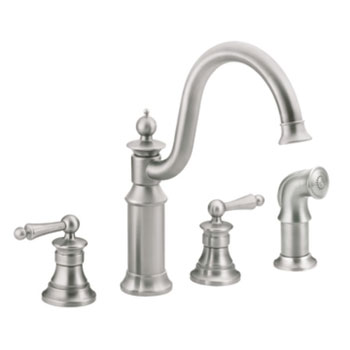 Moen S712CSL Waterhill Two Handle Kitchen Faucet With Side Spray - Classic Stainless