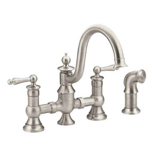 Moen S713SRS Waterhill Two Handle Kitchen Bridge Faucet with Matching Side Spray - Spot Resist Stainless