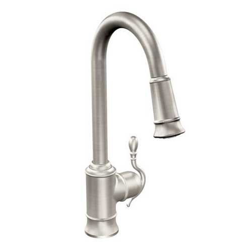 Moen S7208SRS Woodmere Single Handle/Hole High Arc Pulldown Kitchen Faucet - Spot Resist Stainless
