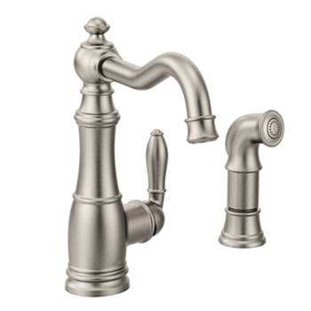 Moen S72101SRS Weymouth Single Handle High Arc Kitchen Faucet with Side Spray - Spot Resist Stainless