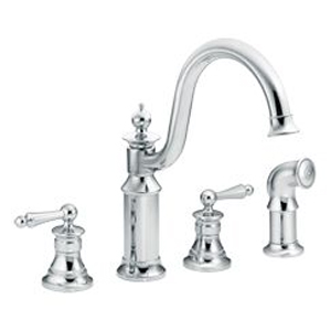 Moen ShowHouse S712 Waterhill Two Handle Kitchen Faucet with Matching Side Spray Chrome