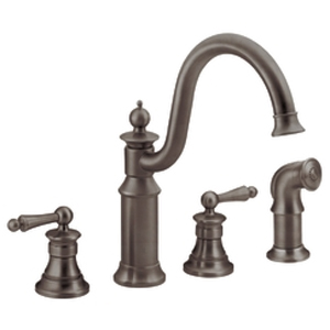 Moen ShowHouse S712ORB Waterhill Two Handle Kitchen Faucet with Matching Side Spray Oil Rubbed Bronze