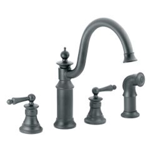 Moen ShowHouse S712WR Waterhill Two Handle Kitchen Faucet with Matching Side Spray Wrought Iron