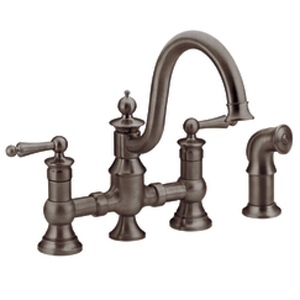 Moen ShowHouse S713ORB Waterhill Two Handle Kitchen Bridge Faucet with Matching Side Spray Oil Rubbed Bronze