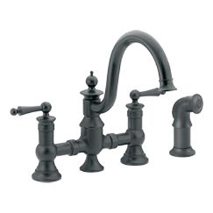 Moen ShowHouse S713WR Waterhill Two Handle Kitchen Bridge Faucet with Matching Side Spray Wrought Iron