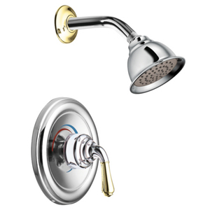 Moen T3124CP Monticello Single Handle Shower Trim - Chrome/Polished Brass