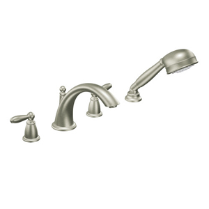 Moen T924BN Brantford Two-Handle Roman Tub Faucet Trim with Built-In Handshower Brushed Nickel
