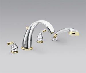 Moen T956CP Monticello Roman Tub Faucet Trim with Hand Shower Chrome/Polished Brass