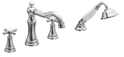 Moen TS21102 Weymouth Two-Handle Diverter Roman Tub Faucet Includes Hand Shower - Chrome