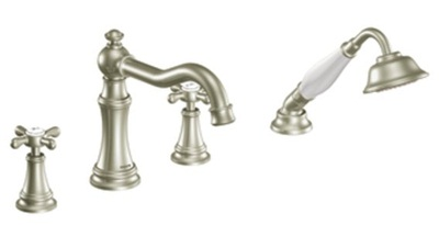 Moen TS21102BN Weymouth Double Handle Roman Tub Filler Faucet Only with Personal Hand Shower - Brushed Nickel