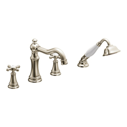 Moen TS21102NL Weymouth Two-Handle Diverter Roman Tub Faucet Includes Hand Shower - Nickel