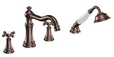 Moen TS21102ORB Weymouth Double Handle Roman Tub Filler Faucet Only with Personal Hand Shower - Oil Rubbed Bronze