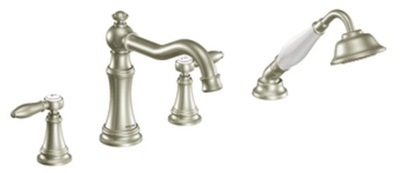 Moen TS21104BN Weymouth Double Handle Roman Tub Filler Faucet Only with Personal Hand Shower - Brushed Nickel