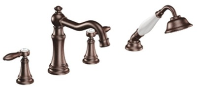 Moen TS21104ORB Weymouth Double Handle Roman Tub Filler Faucet Only with Personal Hand Shower - Oil Rubbed Bronze