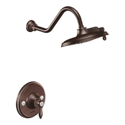 Moen TS32102ORB Weymouth Single Handle Posi-Temp Pressure Balanced Shower Trim and Rainshower Showerhead - Oil Rubbed Bronze