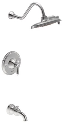 Moen TS32104 Weymouth Single Handle Posi-Temp Pressure Balanced Tub and Shower Trim with Rainshower - Chrome