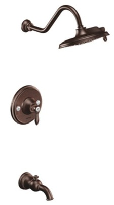 Moen TS32104ORB Weymouth Single Handle Posi-Temp Pressure Balanced Tub and Shower Trim with Rainshower - Oil Rubbed Bronze