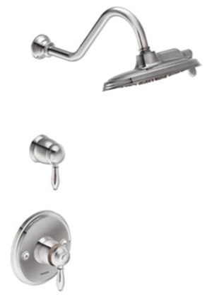 Moen TS32112 Weymouth Double Handle ExactTemp Thermostatic Shower Trim with Rainshower Showerhead - Chrome