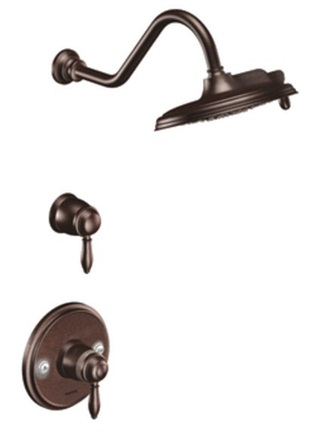 Moen TS32112ORB Weymouth Double Handle ExactTemp Thermostatic Shower Trim with Rainshower Showerhead - Oil Rubbed Bronze