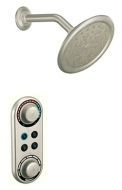 Moen TS3405BN ioDIGITAL Double Handle Shower Valve Trim with Rainshower Showerhead - Brushed Nickel