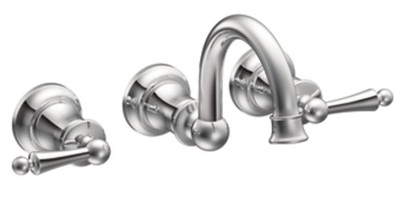 Moen TS416 Waterhill Lavatory Double Handle Wall Mounted Faucet - Chrome