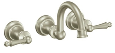 Moen TS416BN Waterhill Lavatory Double Handle Wall Mounted Faucet Trim - Brushed Nickel