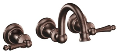 Moen TS416ORB Waterhill Lavatory Double Handle Wall Mounted Faucet Trim - Oil Rubbed Bronze